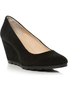Black Suede Atreat Simple Wedged Heel Court Shoe - predominant colour: black; occasions: casual, evening, work; material: suede; heel height: mid; heel: wedge; toe: round toe; style: courts; finish: plain; pattern: plain