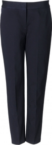 Hannah Trouser - pattern: plain; pocket detail: small back pockets; waist detail: wide waistband/cummerbund; waist: mid/regular rise; predominant colour: black; occasions: casual, evening, work, holiday; length: ankle length; fibres: cotton - stretch; hip detail: fitted at hip (bottoms); fit: slim leg; pattern type: fabric; texture group: other - light to midweight; style: standard