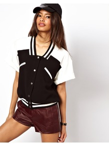 Baseball Jacket With Monochrome Pockets - pattern: plain, colourblock; collar: standard lapel/rever collar; style: baseball; predominant colour: black; occasions: casual; length: standard; fit: straight cut (boxy); fibres: polyester/polyamide - stretch; sleeve length: short sleeve; sleeve style: standard; collar break: medium; pattern type: fabric; pattern size: big &amp; light; texture group: jersey - stretchy/drapey