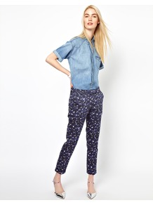 Printed Pants - pocket detail: small back pockets; waist: mid/regular rise; predominant colour: navy; occasions: casual, evening, work, holiday; length: ankle length; fibres: cotton - stretch; texture group: cotton feel fabrics; fit: slim leg; pattern type: fabric; pattern size: small &amp; light; pattern: patterned/print; style: standard