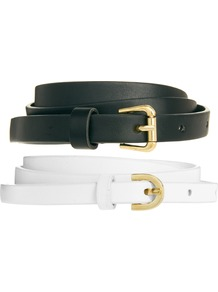 2 Pack Skinny Waist Belts - secondary colour: white; predominant colour: black; occasions: casual, evening, work, holiday; type of pattern: standard; style: classic; size: skinny; worn on: hips; material: faux leather; pattern: plain; finish: plain