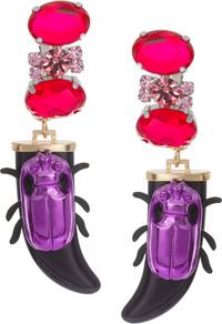 Jewel Beetle Earrings - predominant colour: hot pink; secondary colour: purple; occasions: evening, occasion, holiday; style: drop; length: long; size: large/oversized; material: chain/metal; fastening: pierced; finish: plain; embellishment: jewels