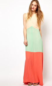 Striped Maxi Dress In Colour Block - neckline: slash/boat neckline; sleeve style: sleeveless; style: maxi dress; occasions: casual, holiday; length: floor length; fit: body skimming; fibres: polyester/polyamide - 100%; predominant colour: multicoloured; sleeve length: sleeveless; texture group: sheer fabrics/chiffon/organza etc.; pattern type: fabric; pattern size: big & light; pattern: colourblock