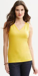 Luxe Touch Tank - neckline: v-neck; pattern: plain; sleeve style: sleeveless; style: vest top; predominant colour: yellow; occasions: casual; length: standard; fibres: viscose/rayon - stretch; fit: body skimming; sleeve length: sleeveless; texture group: jersey - clingy; pattern type: fabric