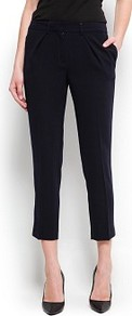 Cropped Suit Trousers - pattern: plain; waist: high rise; predominant colour: black; occasions: casual, evening, work; length: ankle length; fibres: polyester/polyamide - 100%; fit: slim leg; pattern type: fabric; style: standard