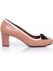 Nude Rainya Bow Front Shoes 5 Uk/38 Eu - predominant colour: nude; occasions: work, occasion; material: leather; heel height: high; embellishment: crystals, bow; heel: block; toe: round toe; style: courts; finish: patent; pattern: animal print, two-tone, colourblock