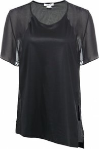 Black Vena Top Uk - neckline: round neck; pattern: plain; length: below the bottom; shoulder detail: contrast pattern/fabric at shoulder; predominant colour: black; occasions: casual, evening; style: top; fibres: polyester/polyamide - 100%; fit: loose; sleeve length: short sleeve; sleeve style: standard; pattern type: fabric; pattern size: standard; texture group: jersey - stretchy/drapey