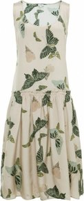 Cream Butterfly Dress Uk - sleeve style: sleeveless; style: blouson; predominant colour: ivory; secondary colour: dark green; occasions: casual, holiday; length: on the knee; fit: body skimming; neckline: scoop; fibres: silk - 100%; sleeve length: sleeveless; texture group: silky - light; trends: volume; pattern type: fabric; pattern size: big & light; pattern: patterned/print