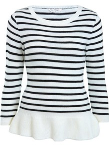 Stripe Peplum Jumper - neckline: round neck; pattern: horizontal stripes; style: standard; predominant colour: white; secondary colour: black; occasions: casual, work; length: standard; fibres: acrylic - 100%; fit: slim fit; waist detail: peplum detail at waist; back detail: embellishment at back; sleeve length: 3/4 length; sleeve style: standard; texture group: knits/crochet; pattern type: knitted - fine stitch; pattern size: small &amp; light