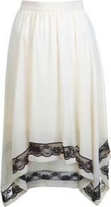Cream Hanky Hem Skirt - pattern: plain; fit: loose/voluminous; waist: mid/regular rise; secondary colour: black; occasions: casual, evening, holiday; length: just above the knee; style: handkerchief; fibres: polyester/polyamide - 100%; hip detail: soft pleats at hip/draping at hip/flared at hip; waist detail: narrow waistband; texture group: sheer fabrics/chiffon/organza etc.; predominant colour: monochrome; trends: volume; pattern type: fabric; embellishment: lace