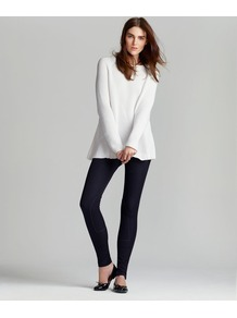 Technical Stretch Gabardine Zip Legging - pattern: plain; style: leggings; waist detail: elasticated waist; waist: mid/regular rise; predominant colour: black; occasions: casual, evening; length: ankle length; fibres: cotton - stretch; fit: skinny/tight leg; pattern type: fabric; texture group: jersey - stretchy/drapey