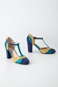Zelda T Straps - secondary colour: navy; predominant colour: turquoise; occasions: evening, work, occasion; material: leather; heel height: high; ankle detail: ankle strap; heel: block; toe: pointed toe; style: t-bar; finish: plain; pattern: colourblock