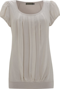 Stone Silk Panel Jersey Top - pattern: plain; waist detail: fitted waist; style: t-shirt; bust detail: ruching/gathering/draping/layers/pintuck pleats at bust; predominant colour: light grey; occasions: casual, evening, work, holiday; length: standard; neckline: scoop; fibres: viscose/rayon - stretch; fit: body skimming; sleeve length: short sleeve; sleeve style: standard; texture group: sheer fabrics/chiffon/organza etc.; pattern type: fabric