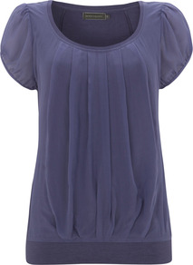 Iris Silk Panel Jersey Top - pattern: plain; bust detail: ruching/gathering/draping/layers/pintuck pleats at bust; predominant colour: indigo; occasions: casual, evening, work, holiday; length: standard; style: top; neckline: scoop; fibres: viscose/rayon - stretch; fit: body skimming; sleeve length: short sleeve; sleeve style: standard; pattern type: fabric; texture group: jersey - stretchy/drapey