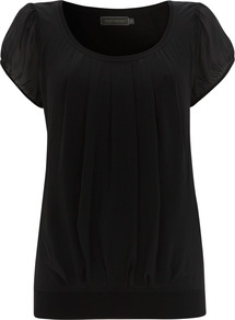 Black Silk Panel Jersey Top - neckline: round neck; pattern: plain; style: t-shirt; predominant colour: black; occasions: casual, evening, work, holiday; length: standard; fibres: silk - 100%; fit: body skimming; sleeve length: short sleeve; sleeve style: standard; pattern type: fabric; texture group: jersey - stretchy/drapey