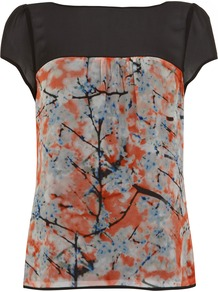 Zoe Print Top - style: t-shirt; shoulder detail: contrast pattern/fabric at shoulder; back detail: contrast pattern/fabric at back; predominant colour: bright orange; secondary colour: black; occasions: casual, evening, work, occasion; length: standard; fibres: viscose/rayon - 100%; fit: body skimming; neckline: crew; sleeve length: short sleeve; sleeve style: standard; texture group: silky - light; pattern type: fabric; pattern size: big &amp; busy; pattern: patterned/print