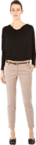 Double Waist Band Trouser - pattern: plain; waist: mid/regular rise; predominant colour: stone; occasions: casual, evening, work; length: ankle length; fibres: polyester/polyamide - stretch; texture group: cotton feel fabrics; fit: slim leg; pattern type: fabric; style: standard