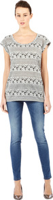 Floral Textured Stripe Tee - sleeve style: capped; length: below the bottom; style: t-shirt; secondary colour: charcoal; predominant colour: mid grey; occasions: casual, holiday; neckline: scoop; fibres: polyester/polyamide - mix; fit: body skimming; sleeve length: short sleeve; pattern type: fabric; pattern size: small &amp; busy; pattern: patterned/print; texture group: jersey - stretchy/drapey