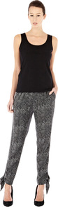 Tie Ankle Snake Print Trouser - length: standard; style: harem/slouch; pocket detail: pockets at the sides; waist: mid/regular rise; predominant colour: charcoal; occasions: casual, evening; fibres: polyester/polyamide - 100%; texture group: cotton feel fabrics; fit: tapered; pattern type: fabric; pattern size: small &amp; busy; pattern: animal print