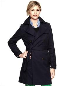 Trench Coat - pattern: plain; style: trench coat; fit: slim fit; collar: standard lapel/rever collar; length: mid thigh; predominant colour: navy; occasions: casual, work; fibres: cotton - 100%; waist detail: belted waist/tie at waist/drawstring; shoulder detail: discreet epaulette; back detail: back vent/flap at back; sleeve length: long sleeve; sleeve style: standard; texture group: cotton feel fabrics; collar break: medium; pattern type: fabric