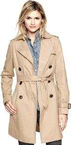 Trench Coat - pattern: plain; shoulder detail: obvious epaulette; collar: wide lapels; style: trench coat; fit: slim fit; length: mid thigh; predominant colour: stone; occasions: casual, work; fibres: cotton - 100%; waist detail: belted waist/tie at waist/drawstring; back detail: back vent/flap at back; sleeve length: long sleeve; sleeve style: standard; texture group: cotton feel fabrics; collar break: medium; pattern type: fabric