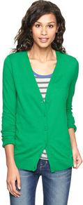 Luxlight V Neck Cardigan - neckline: low v-neck; pattern: plain; predominant colour: emerald green; occasions: casual, work; length: standard; style: standard; fibres: cotton - mix; fit: standard fit; sleeve length: long sleeve; sleeve style: standard; texture group: knits/crochet; pattern type: knitted - fine stitch