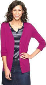 Luxlight V Neck Cardigan - neckline: low v-neck; pattern: plain; length: below the bottom; predominant colour: magenta; occasions: casual, work; style: standard; fibres: cotton - mix; fit: standard fit; sleeve length: long sleeve; sleeve style: standard; texture group: knits/crochet; pattern type: knitted - fine stitch