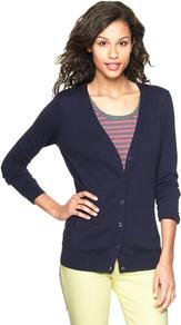 Luxlight V Neck Cardigan - neckline: low v-neck; pattern: plain; predominant colour: navy; occasions: casual, work; length: standard; style: standard; fibres: cotton - mix; fit: standard fit; sleeve length: long sleeve; sleeve style: standard; texture group: knits/crochet; pattern type: knitted - fine stitch