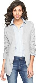 Luxlight V Neck Cardigan - neckline: low v-neck; pattern: plain; predominant colour: light grey; occasions: casual, work; length: standard; style: standard; fibres: cotton - mix; fit: slim fit; sleeve length: long sleeve; sleeve style: standard; texture group: knits/crochet; pattern type: knitted - fine stitch