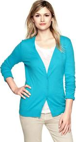Luxlight V Neck Cardigan - neckline: low v-neck; pattern: plain; predominant colour: turquoise; occasions: casual, work; length: standard; style: standard; fibres: cotton - mix; fit: slim fit; sleeve length: long sleeve; sleeve style: standard; texture group: knits/crochet; pattern type: knitted - fine stitch