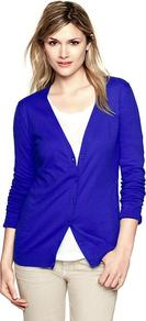 Luxlight V Neck Cardigan - neckline: low v-neck; pattern: plain; predominant colour: royal blue; occasions: casual, work; length: standard; style: standard; fibres: cotton - mix; fit: slim fit; sleeve length: long sleeve; sleeve style: standard; texture group: knits/crochet; pattern type: knitted - fine stitch
