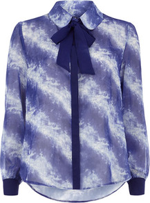 Blue Pussybow Print Blouse - sleeve style: extended cuff; neckline: pussy bow; style: blouse; secondary colour: white; predominant colour: navy; occasions: evening, work; length: standard; fibres: polyester/polyamide - stretch; fit: loose; back detail: longer hem at back than at front; sleeve length: extra long; texture group: sheer fabrics/chiffon/organza etc.; pattern type: fabric; pattern size: big &amp; light; pattern: patterned/print