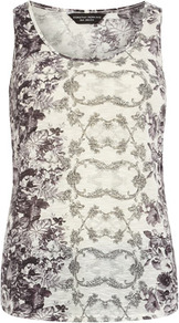 Grey/Black Floral Vest - sleeve style: sleeveless; style: vest top; predominant colour: ivory; secondary colour: charcoal; occasions: casual, evening, holiday; length: standard; neckline: scoop; fibres: polyester/polyamide - 100%; fit: body skimming; sleeve length: sleeveless; pattern type: fabric; pattern size: small & busy; pattern: patterned/print; texture group: jersey - stretchy/drapey