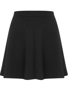 Black Waffle Skater Skirt - length: mid thigh; pattern: plain; fit: loose/voluminous; waist: mid/regular rise; predominant colour: black; occasions: casual, evening; style: a-line; fibres: polyester/polyamide - 100%; pattern type: fabric; texture group: jersey - stretchy/drapey