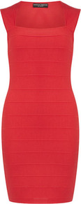 Pink Bandage Dress - fit: tight; pattern: plain; sleeve style: sleeveless; style: bodycon; predominant colour: true red; occasions: evening, occasion; length: just above the knee; fibres: polyester/polyamide - stretch; sleeve length: sleeveless; texture group: lycra/elastane mixes; neckline: low square neck; pattern type: fabric