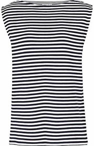 Gwen Stripe Sleeveless Tank - neckline: slash/boat neckline; pattern: horizontal stripes; sleeve style: sleeveless; secondary colour: ivory; predominant colour: black; occasions: casual, work, holiday; length: standard; style: top; fit: loose; sleeve length: sleeveless; pattern type: fabric; pattern size: standard; texture group: jersey - stretchy/drapey; fibres: viscose/rayon - mix