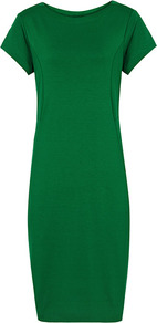Martina Jersey Shift Dress - style: shift; neckline: round neck; pattern: plain; hip detail: side pockets at hip; predominant colour: emerald green; occasions: evening, work; length: on the knee; fit: body skimming; fibres: viscose/rayon - stretch; sleeve length: short sleeve; sleeve style: standard; pattern type: fabric; texture group: other - stretchy
