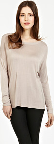 Airtex Fine Gauge Jumper - neckline: round neck; sleeve style: dolman/batwing; pattern: plain; style: standard; predominant colour: stone; occasions: casual, work; length: standard; fibres: viscose/rayon - 100%; fit: loose; back detail: longer hem at back than at front; sleeve length: long sleeve; texture group: knits/crochet; pattern type: knitted - fine stitch