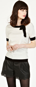 Tie Neck Top - neckline: round neck; pattern: plain; predominant colour: ivory; secondary colour: black; occasions: casual, evening, work; length: standard; style: top; fibres: cotton - stretch; fit: tailored/fitted; shoulder detail: added shoulder detail; sleeve length: short sleeve; sleeve style: standard; pattern type: fabric; texture group: other - light to midweight