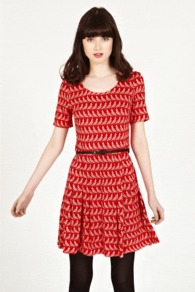 Bird Print Skater Dress - style: shift; neckline: round neck; fit: fitted at waist; waist detail: belted waist/tie at waist/drawstring; predominant colour: true red; occasions: casual; length: just above the knee; fibres: viscose/rayon - 100%; back detail: keyhole/peephole detail at back; sleeve length: short sleeve; sleeve style: standard; trends: volume; pattern type: fabric; pattern size: small & busy; pattern: patterned/print; texture group: jersey - stretchy/drapey