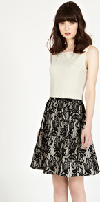 Bonded Lace Dress - pattern: plain; sleeve style: sleeveless; predominant colour: stone; secondary colour: black; occasions: evening, occasion; length: just above the knee; fit: fitted at waist & bust; style: fit & flare; fibres: polyester/polyamide - 100%; neckline: crew; hip detail: contrast fabric/print detail at hip; sleeve length: sleeveless; texture group: lace; pattern type: fabric; pattern size: standard