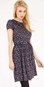 Ditsy Western Dress - style: shift; neckline: round neck; fit: fitted at waist; predominant colour: navy; occasions: casual, evening, work; length: just above the knee; fibres: viscose/rayon - 100%; bust detail: contrast pattern/fabric/detail at bust; back detail: keyhole/peephole detail at back; sleeve length: short sleeve; sleeve style: standard; trends: high impact florals; pattern type: fabric; pattern size: small & busy; pattern: florals; texture group: jersey - stretchy/drapey