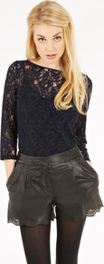 Lace Boatneck Top - neckline: slash/boat neckline; predominant colour: black; occasions: casual, evening, work; length: standard; style: top; fit: body skimming; sleeve length: 3/4 length; sleeve style: standard; pattern type: fabric; pattern size: small & busy; pattern: patterned/print; texture group: jersey - stretchy/drapey; fibres: viscose/rayon - mix; embellishment: lace