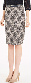 Victoria Lace Pencil Skirt - style: pencil; fit: tailored/fitted; waist detail: belted waist/tie at waist/drawstring; waist: mid/regular rise; secondary colour: ivory; predominant colour: black; occasions: evening, work, occasion; length: on the knee; fibres: cotton - stretch; texture group: lace; pattern type: fabric; pattern size: big &amp; busy; pattern: patterned/print; embellishment: lace