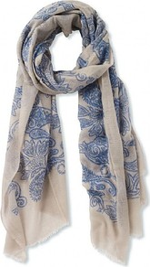 Paisley Scarf - secondary colour: ivory; predominant colour: denim; occasions: casual, work; type of pattern: large; style: regular; size: standard; material: fabric; pattern: patterned/print