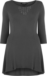 Scarlett &amp; Jo Grey Embellished Front Skater Tunic - style: tunic; length: mini; neckline: round neck; fit: loose; pattern: plain; bust detail: added detail/embellishment at bust; predominant colour: charcoal; occasions: casual; fibres: viscose/rayon - stretch; back detail: longer hem at back than at front; sleeve length: 3/4 length; sleeve style: standard; pattern type: fabric; texture group: jersey - stretchy/drapey; embellishment: studs