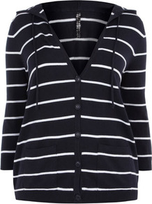 Navy Stripe Knitted Hoody - neckline: low v-neck; pattern: horizontal stripes; back detail: hood; style: sweat top; secondary colour: white; predominant colour: navy; occasions: casual; length: standard; fibres: cotton - mix; fit: body skimming; sleeve length: 3/4 length; sleeve style: standard; pattern type: fabric; pattern size: standard; texture group: jersey - stretchy/drapey