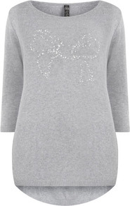 Grey Bow Motif Jumper - neckline: round neck; pattern: plain; bust detail: added detail/embellishment at bust; length: below the bottom; style: standard; predominant colour: light grey; occasions: casual; fibres: acrylic - mix; fit: standard fit; back detail: longer hem at back than at front; sleeve length: 3/4 length; sleeve style: standard; texture group: knits/crochet; pattern type: fabric; embellishment: crystals