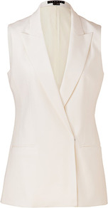 White Wool Blazer Style Annea Vest - pattern: plain; sleeve style: sleeveless; collar: standard lapel/rever collar; predominant colour: white; occasions: casual, evening; length: standard; fit: tailored/fitted; fibres: wool - 100%; style: waistcoat; back detail: back vent/flap at back; sleeve length: sleeveless; collar break: low/open; pattern type: fabric; texture group: woven light midweight