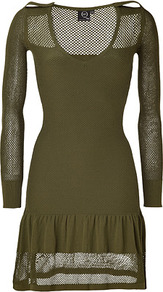 Military Mesh Knit Dress - style: shift; fit: tight; pattern: plain; predominant colour: khaki; occasions: casual, evening; length: just above the knee; neckline: scoop; fibres: viscose/rayon - stretch; shoulder detail: discreet epaulette; sleeve length: long sleeve; sleeve style: standard; texture group: knits/crochet; hip detail: ruffles/tiers/tie detail at hip; pattern type: knitted - big stitch